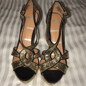 ELLE Gold Glitter Designer Slingback Heels Sz 7.5